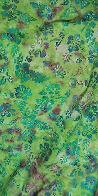 0.5 Meter Green Multicolour Batik 100% Cotton Fabric With Floral Design 45  Wide • 3.99£