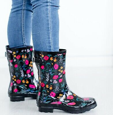 Womens Rain Wellies Festival Garden Flower Ladies Waterproof Wellington Boots • 11.95£