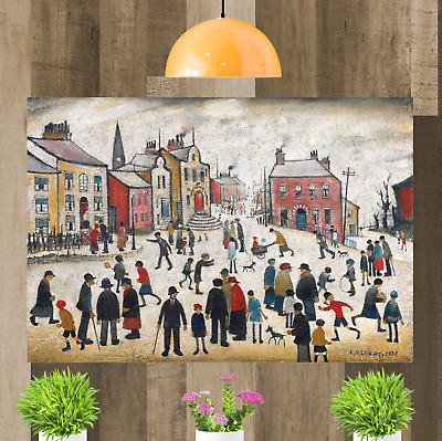 LS Lowry People Standing About Framed Canvas Wall Art Print Artwork Painting • 15.98£
