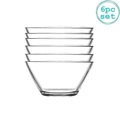 Glass Serving Bowls Set Of 6 Mixing Bowl 12cm Clear • 11.99£