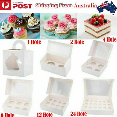 AU15.58 • Buy Cupcake Boxes 1 2 4 6 12 24 Hole Cake Boxes Muffin Cups Patty Pans Cake Boards