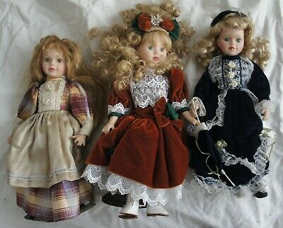 $ CDN24.17 • Buy Lot 3 Vintage Porcelain Dolls The Brass Key Victorian Dresses 14