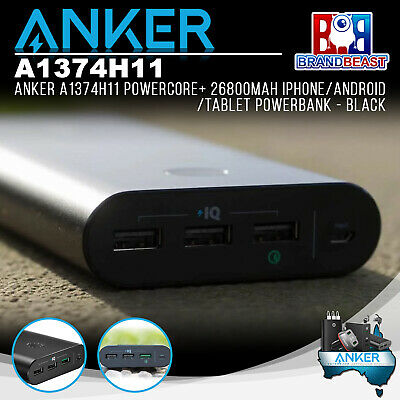 AU121.05 • Buy Anker A1374H11 PowerCore+ 26800mAh IPhone/Android/Tablet Powerbank - Black
