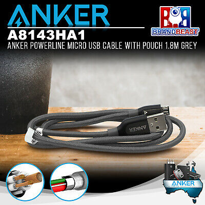 AU24.95 • Buy Anker A8143HA1 PowerLine+ Micro 1.8m Android Smartphones USB Cable W/ Pouch Grey