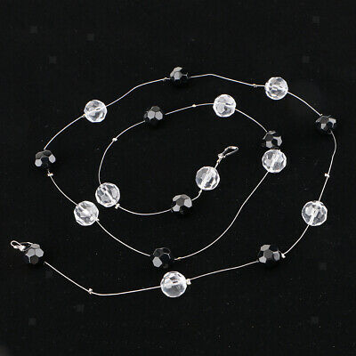 Crystal Beads String Chain For DIY Door Window Curtain Panel Divider Black • 4.08£