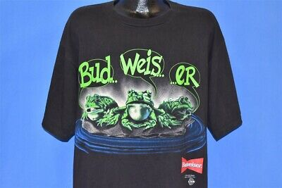 $ CDN80.27 • Buy Vintage 90s BUDWEISER FROGS BUD WEIS ER YOUR PAD OR MINE BLACK BEER T-shirt XL