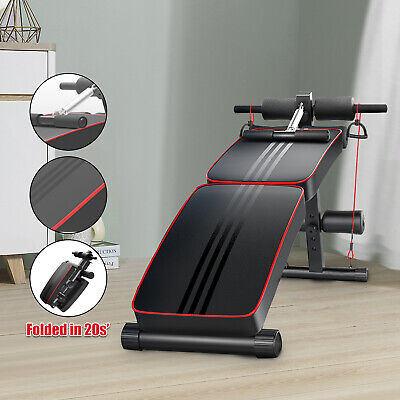 Sit Up Bench Ab Abdominal Exercise Gym Crunch Machine Board Foldable Roller D • 36.99£