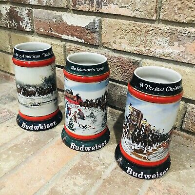$ CDN97.18 • Buy Budweiser Set Of 3 Vintage Christmas Holiday Collector's Series Steins 1990-1992