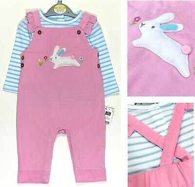 £7.99 • Buy  Baby Girls Pink Dungarees EX Highstreet Bunny Rabbit Top Set Summer Outfit NEW