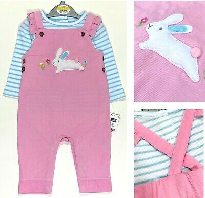 New Ex Chain Baby Girls Pink Cute Bunny Rabbit Cord Dungarees Top Set Easter  • 7.99£