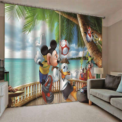 Mickey Mouse Donald Duck Tall Trees Printing 3D Blockout Curtains Fabric Window • 42.41£