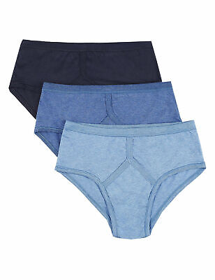 3,6, Mens Y Fronts 100% Cotton Interlock Briefs Underwear / Blue / S M L XL XXL • 11.99£