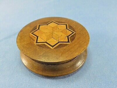 £34.99 • Buy Wooden Round Pocket Snuff Box With Marquetry Lid