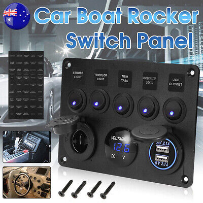 AU28.95 • Buy 5 Gang 12V Switch Control Panel USB Charger ON-OFF Toggle For Truck Marine Boat