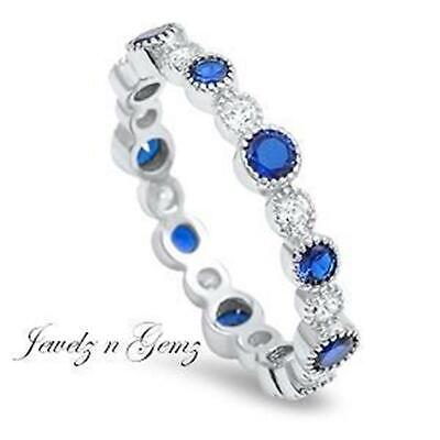 AU25.75 • Buy STACKING RING  925 STERLING SILVER CZ Sapphire Band ~ Size 7 8 9 10 11 12  O - Y