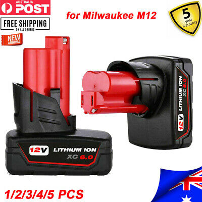 AU30.99 • Buy 6.0Ah For Milwaukee M12 Lithium Cordless 12V Battery Pack 48-11-2440 48-11-2412
