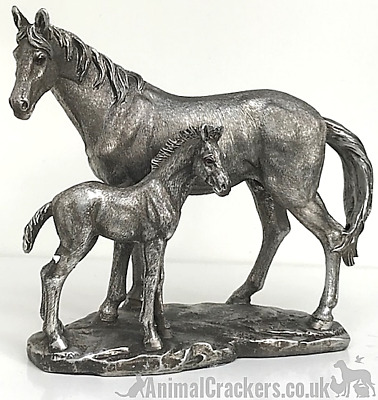 Aged Silver Effect Mare & Foal Ornament Figure Sculpture Statue Horse Lover Gift • 21.95£