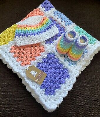 Handmade Crochet Baby Blanket/car Seat/pram/crib Rainbow Boy Girl Xmas Set • 19.99£