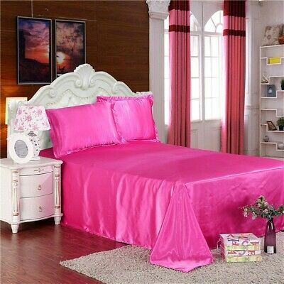 AU46.71 • Buy Faux Silk Satin Flat Sheets Comfort Solid Color Bed Covers Pink Blue White Home