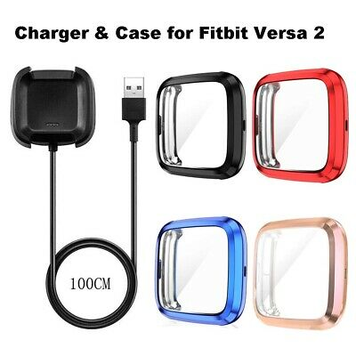 $ CDN10.39 • Buy Full Screen Protector Case Cover And  Charging Cable Charger For Fitbit Versa 2