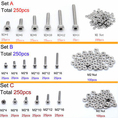 $4.69 • Buy 250pcs M2(2mm) A2 Stainless Steel Bolts With Hex Nuts Screws Assortment Kit New