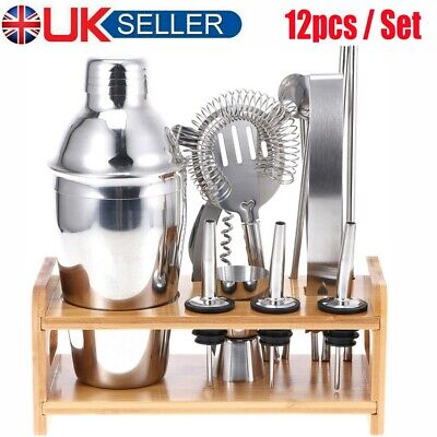 Silver Cocktail Shaker & Mixer Tool Set W/ Wooden Stand Drink Pub Party Martini • 16.49£