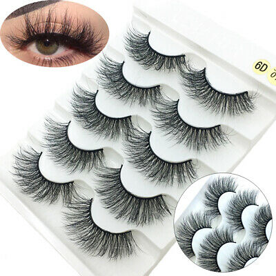 SKONHED 5 Pairs Natural Long Wispies Lashes Faux Mink Hair False Eyelashes=£2.99 • 1.99£