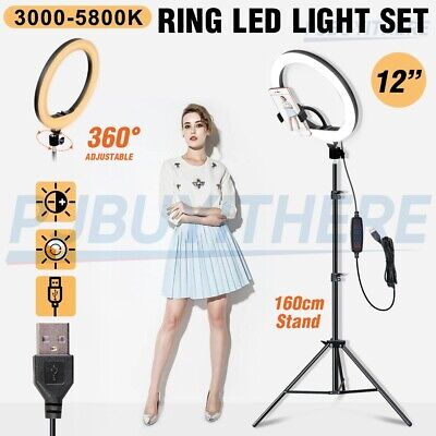 AU32.92 • Buy 12  LED Ring Light Dimmable Lighting Phone Selfie Tripod Stand Makeup Live Lamp