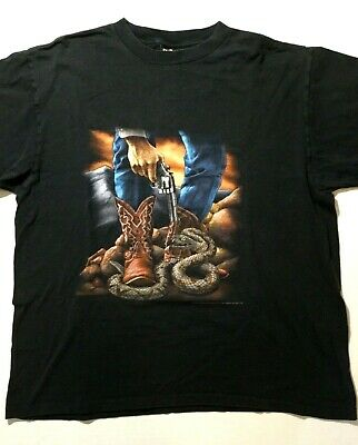 $ CDN134.04 • Buy Vintage 3D Emblem Smith & Wesson Snake T-Shirt 1993 XL Single Stitch 90s Gun