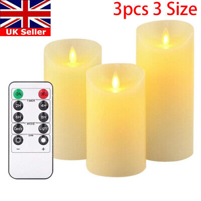3X Flameless Wax LED Flickering Candles Dancing Battery Operated Mood Light  • 8.29£
