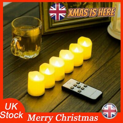 Set Of 6 Battery Flickering LED Flameless Tea Light Candles Real Wax W/Timer UK • 10.88£