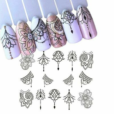 AU2.69 • Buy DIY Nail Art Water Transfer Decal Stickers Black Necklace Gems Flowers Jewellery