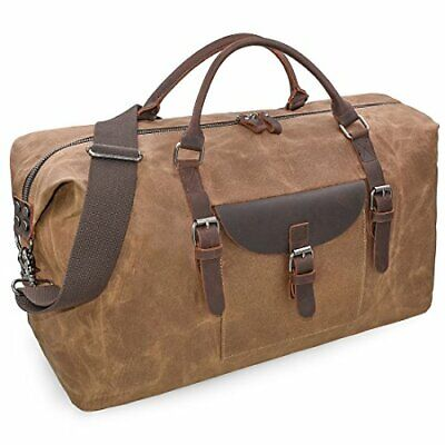 Mens Travel Holdall Duffle Bag Leather Weekend Overnight Bag Waterproof Large • 46.99£