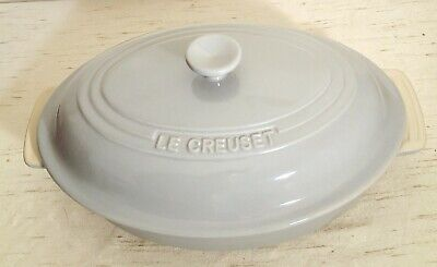 New With Tags LE CREUSET Stoneware Large 30cm Oval Casserole Dish Lid Pale Grey • 46.99£