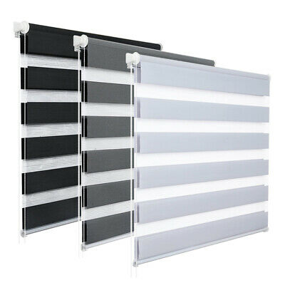 Window Roller Blinds Day And Night Zebra Vision Striped Multi Sizes 3 Colours • 21.49£