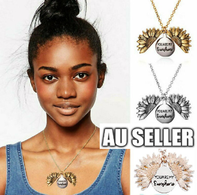 AU6.99 • Buy Sunflower Pendant Necklace Open Locket Gold Silver Rose Gold You Are My Sunshine