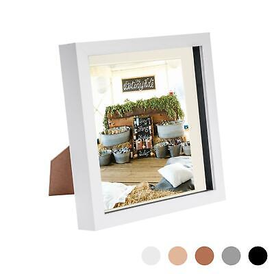 8 X 8 3D Box Frame Photo Picture Deep Display & 6 X 6 Mount White/Ivory • 6.99£