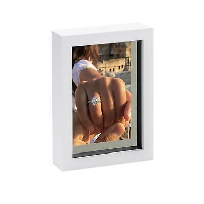 5 X 7 3D Box Frame Photo Picture Deep Display Shadow With 4 X 6 Mount White/Grey • 4.99£