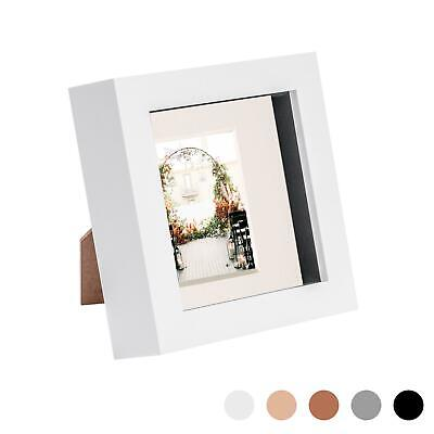 4 X 4 3D Box Frame Photo Picture Deep Display & 2 X 2 Mount White/Ivory • 3.99£