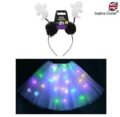 Halloween LIGHT UP GHOST TUTU COSTUME Girls Toddler Ladies Fancy Dress Party UK • 7.99£