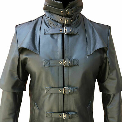 Mens Genuine Black Leather Trench Coat Steampunk Duster Winter Motorbike Jacket • 97.44£