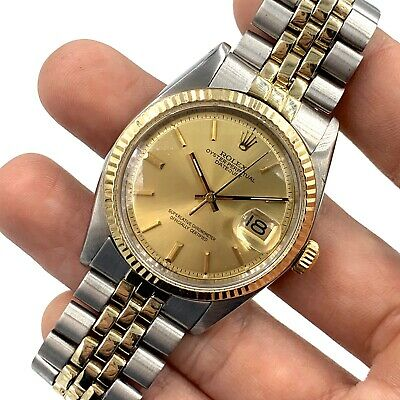 $ CDN6676.32 • Buy Vintage ROLEX 1974 Two-Tone 14K Gold / Stainless Datejust Ref. 1601 Watch