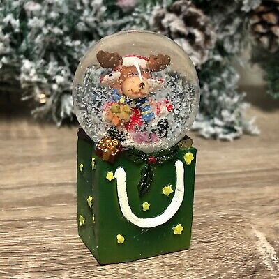 Santa Reindeer In Gift Bag Christmas Snow Globe Small • 8.99£
