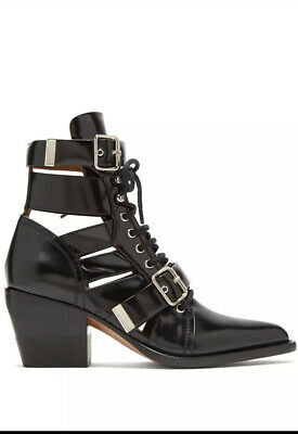 Chloe Rylee Black Leather Ankle Boots Sz40.5 Bnib Rrp£995+receipt • 395£