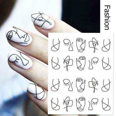 AU2.69 • Buy DIY Nail Art Water Transfer Decal Stickers Black Abstract Face Drawing Slider AU