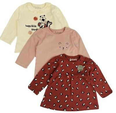 New Nutmeg Baby Girls Jungle Animal Leopard Print 3 Pack Cotton Long Sleeve Tops • 6.99£