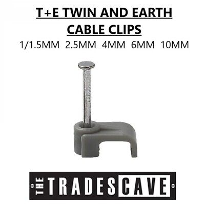 T+E Twin And Earth Cable Clips Flat Various Pack Sizes *Multi Pack Discounts* • 2.39£