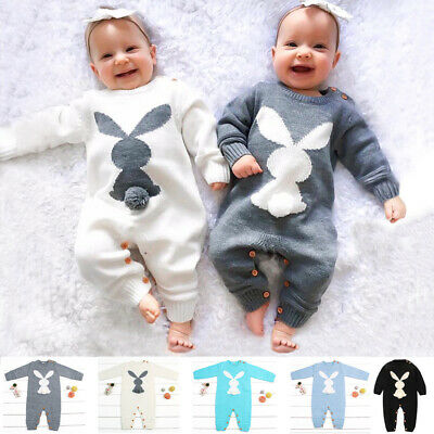 Infant Baby Boy Girl Winter Knit Sweater Romper Jumpsuit Bodysuit Clothes Outfit • 10.99£