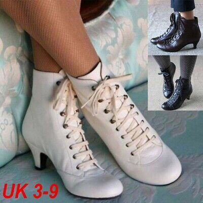 Womens Gothic Kitten Heel Ankle Boots Ladies Vintage Lace Up Booties Shoes Size • 21.96£