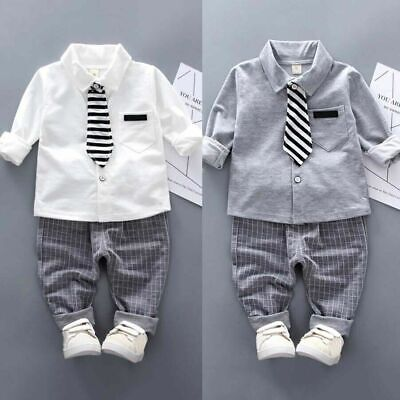 Kids Baby Boys Gentleman Clothes Tie T Shirt Tops + Long Pants Party Outfits Set • 9.99£
